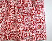 Handcrafted Valance in Lipstick Red & White Floral (Suzani) Pattern (curtain rod not included)