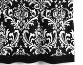 Damask Valance in Black & White Floral Pattern (curtain rod not included)