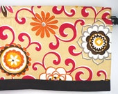 Kitchen Valance Tan Color With Red and Brown Floral Design. Waverly Fabric (curtain rod not included)