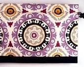 Window Valance Lilac/Onyx Medallion Print. Waverly Fabric Solar Flair (curtain rod not included).