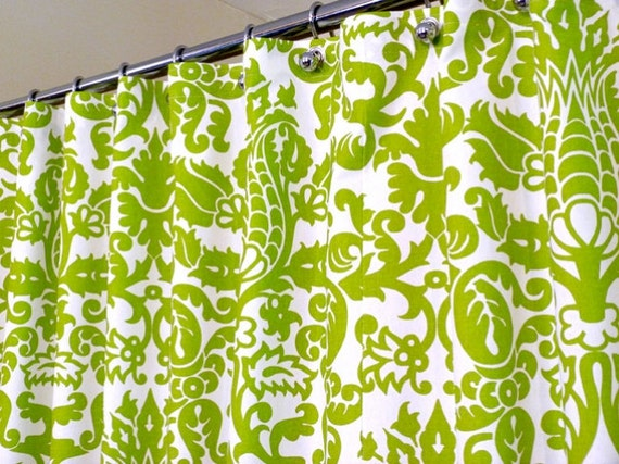 Shower Curtain in Green and White Pattern, Green Shower Curtain, sized ...