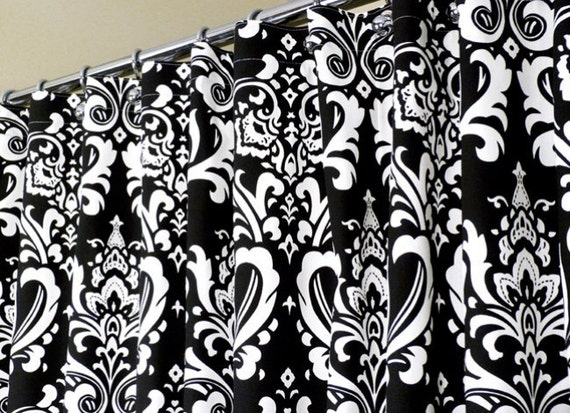 Items Similar To Shower Curtain In Black Amp White Damask