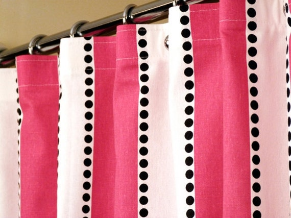 Items Similar To Pink Shower Curtain With Candy Pink White Stripes And Cascading Black Dots