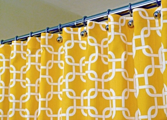 items similar to yellow shower curtain classic pattern of white interlaced squares on corn. Black Bedroom Furniture Sets. Home Design Ideas