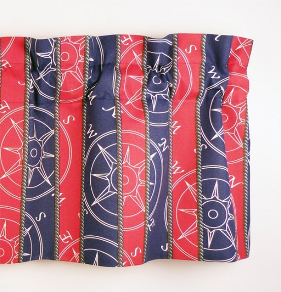 Navy Blue and Red Stripe Nautical Pattern Valance (curtain rod not included)