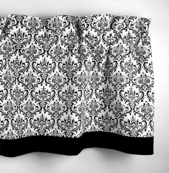 Items Similar To Damask Valance In Black And White Scroll