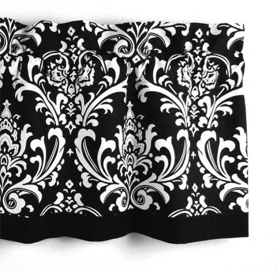 Items Similar To Damask Valance In Black & White Floral