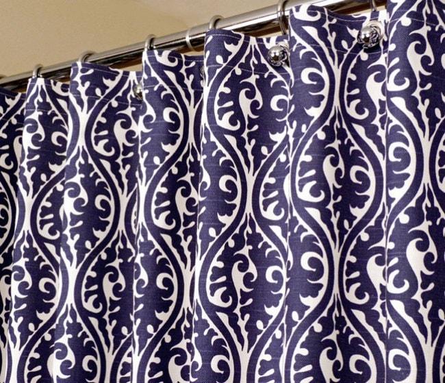 Oriental Pattern Shower Curtain In Indigo Blue White Sized
