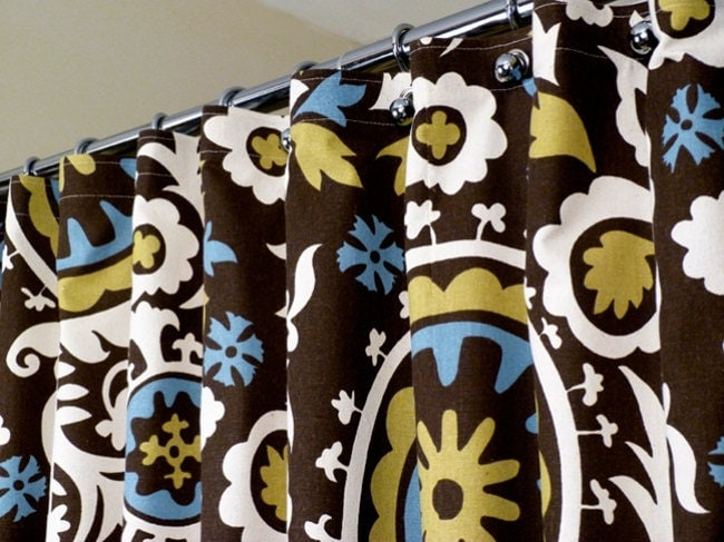 Brown Shower Curtain With Off White And Blue Celtic By LaRicaHome