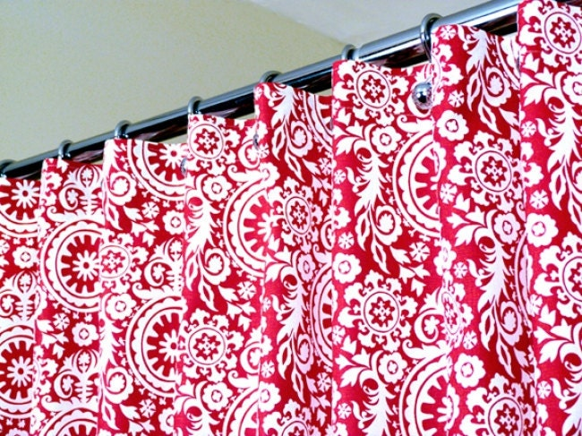 Shower Curtain in Lipstick Red & White Floral Suzani by LaRicaHome