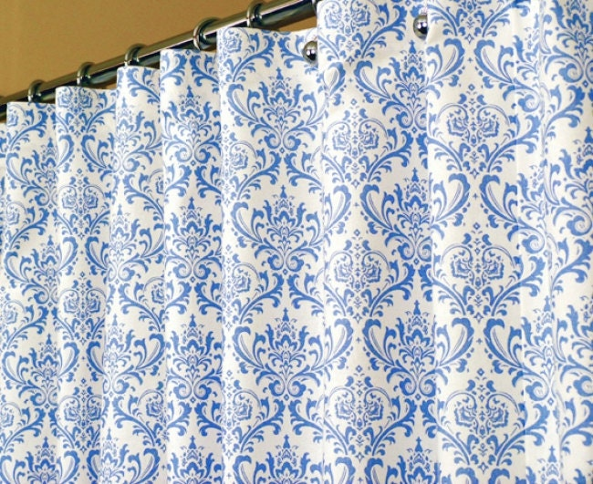shower curtain in light blue and white damask swirl pattern. Black Bedroom Furniture Sets. Home Design Ideas