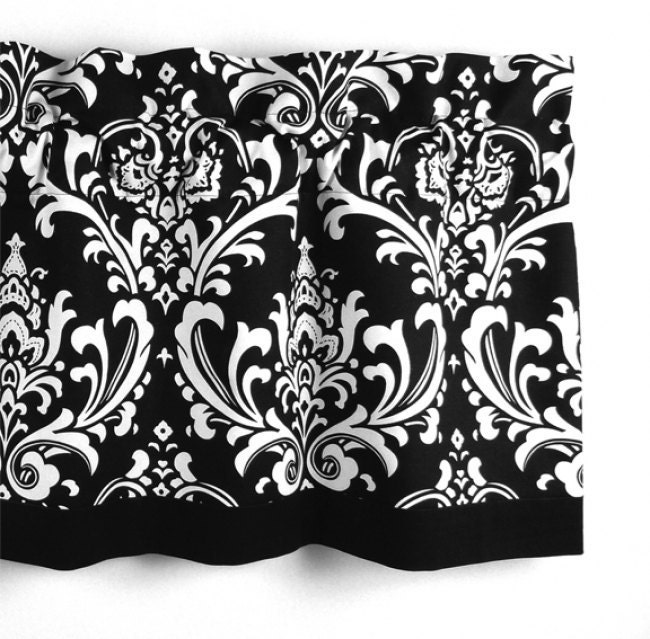 Damask Valance In Black & White Floral Pattern By LaRicaHome