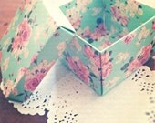 Vintage Style Floral Green Gift Boxes Set of 10
