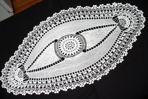 Handmade White Oval Crochet Doily: Coral Reef