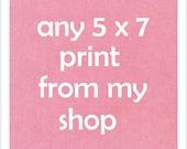 One 5 x 7 art print - your choice