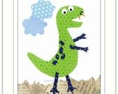 Nursery Art Print, Childrens Room Decor, Nursery Wall Art, Kids Art Print, Dinosaur Print, Big Green T Rex 8 x 10 Art Print