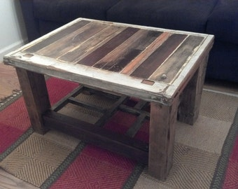 Coffee Table from Reclaimed Wood and Window frame