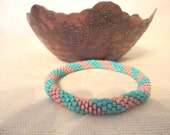 Turquoise and salmon pink crochet beaded bracelet - spiral patterned,turquoise and salmon pink bracelet,beach bracelet, summer bracelet
