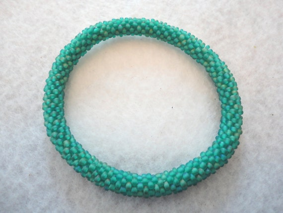 Matt green crochet  roll on bracelet
