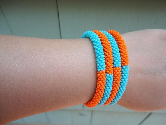 Set of 4 modern beaded bracelets - blue and orange bead bracelet, simple , modern and minimal  bracelet set