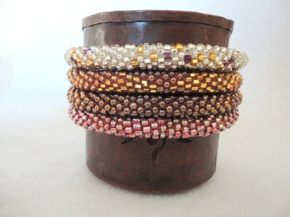 Set of four sparkly crochet beaded bracelets - silver,gold,bronze and rose gold