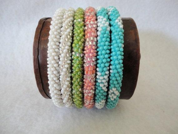 Set of six  roll on beaded bracelets - CUSTOM ORDER for Eva- RESERVED