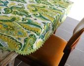 Vintage Tablecloth .. RETRO Green Paisley Tablecloth