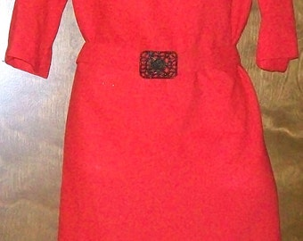 Beautiful Red/Orange Dress with Belt Size Medium