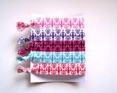 Elastic Hair Ties, Set of 5 Fluer de Lis Colors, Ready to Ship