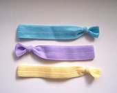 Elastic Hair Ties, Set of 3, Solid Yellow, Blue, and Purple, Tug Free Hair Band Bracelet, Ready to Ship