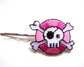 Skull Hair Pin, Embroidered Kawaii Skull, Ready to Ship