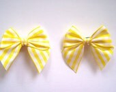 Baby Hair Bow Set, Yellow Gingham, Ready to Ship