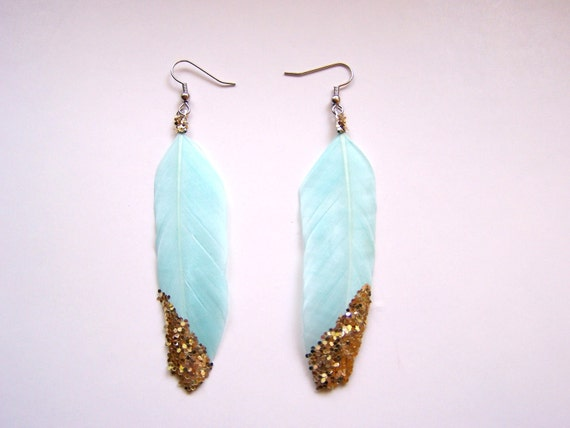 Feather Earrings, Gold Glitter on Light Turquoise Blue, Ready to Ship