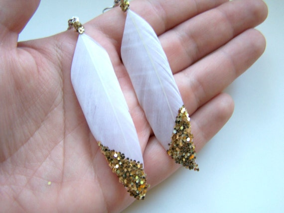 Feather Earrings, Gold Glitter on White, Ready to Ship