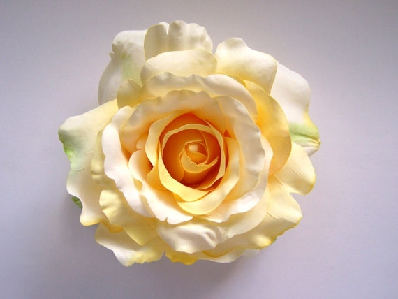 Flower Hair Clip, Large Yellow Rose, Ready to Ship