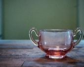 Pink Depression Glass Vintage Sugar Bowl