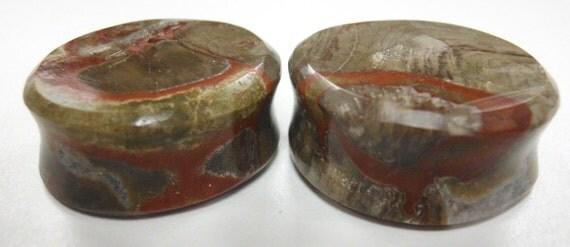 "1"" Mushroom Jasper Round Stone Plugs 25mm"