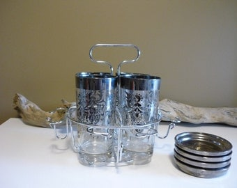 Vintage Kimiko Guardianware Silver Ombre Barware, Highball Glasses with Coasters and Caddy
