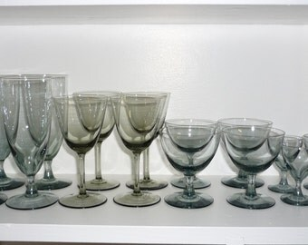 Vintage Smoked Glass Barware, Water, Wine, Aperitif and Shot Glass, Set of 12, Mid Century Glassware