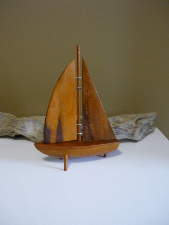 Vintage Mid Century Modern teak sailboat/home decor