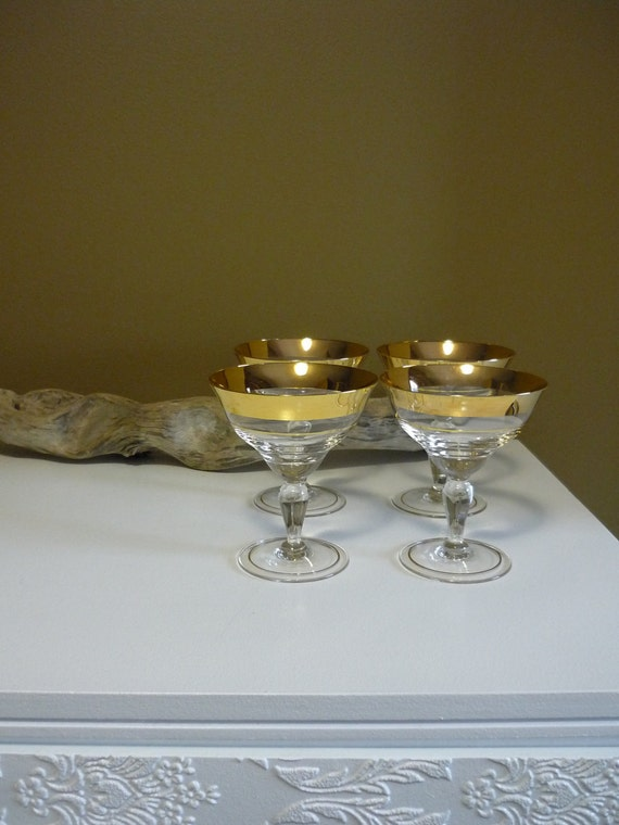 Vintage Gold Rimmed Cordial Glasses, Set of 4 Mid Century Barware, Mad Men Style Glassware