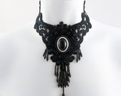 Black lace bib choker necklace (goth, gothic, sequins, long, prom, ball, victorian, costume, burlesque, statement)