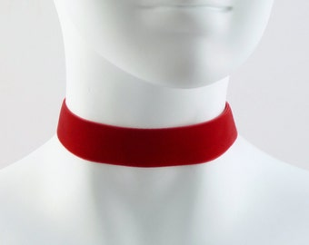 Ruby Red Velvet Choker Necklace Simple Plain Basic - 7/8'' wide - Soft, Sexy & Elegant - Custom MADE to YOUR SIZE - Gothic, Goth