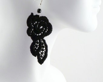 Black Rose Lace Pair of Earrings w/ Glass Bead - Elegant Fabric Jewelry - Glam, Burlesque, Goth, Gothic, Victorian, Boudoir, Chic,  Women
