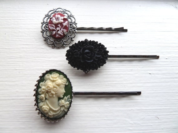 Collection of 3 Victorian Bobby Pins with Set Cameos in Red, White Black and Green - Lady, Flowers Bouquet, Rose, Filigree