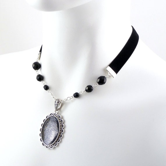 Large Clear Cabochon Pendant Choker Necklace with Black Mesh Overlay, Glass Beads and Velvet Sides - Victorian, Elegant, Gothic, Goth, Jewel