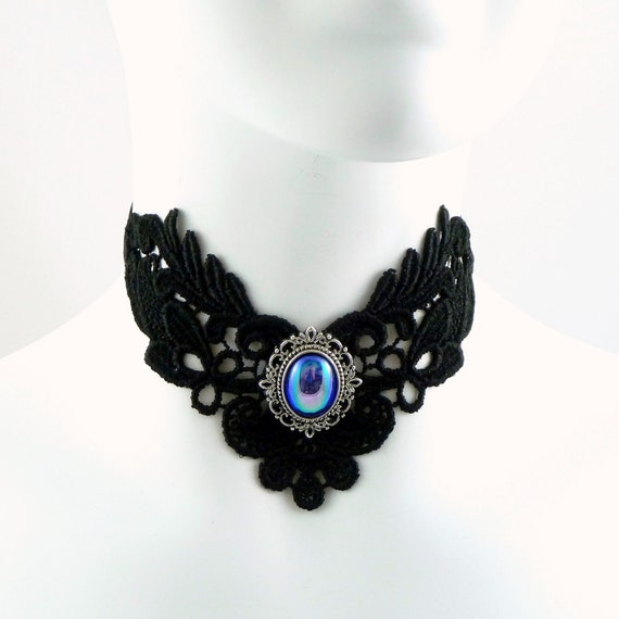 Black Lace Choker Necklace with Blue Vintage Iridescent Glass Cabochon in Silver Setting - Victorian, Gothic - Ties in the Back with Satin