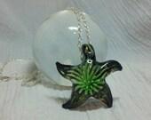 "Murano Glass Pendant On A Silver Ball Chain ""Star Flower"""