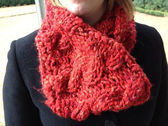 Red Cowl Scarf with Cables