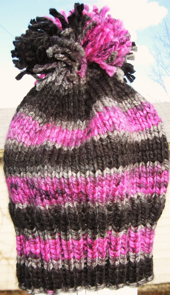 Striped Knit Hat with Pom Pom in Pink Black Gray